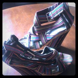 Aztec colorful wedge platform high heel sandals 6